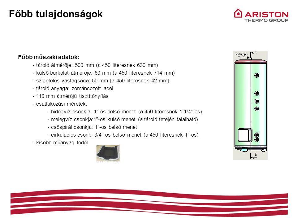 Főbb tulajdonságok Főbb műszaki adatok: - tároló átmérője: 500 mm (a 450 literesnek 630 mm) - külső burkolat átmérője: 60 mm (a 450 literesnek 714 mm)