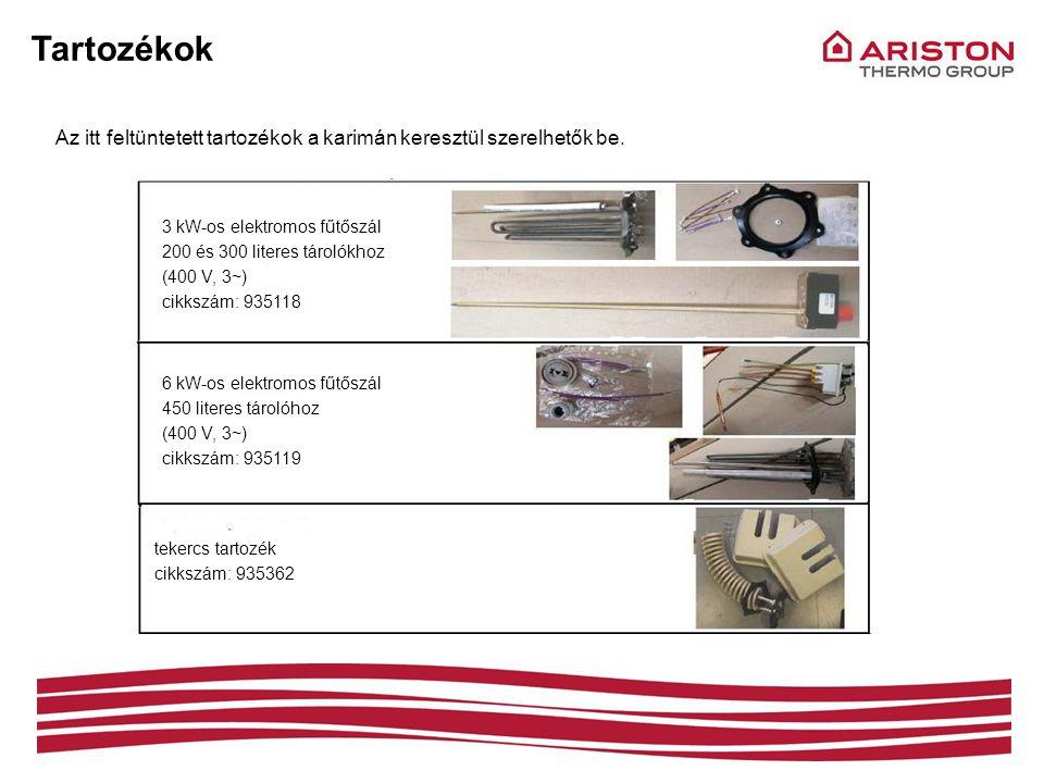 Tartozékok Az itt feltüntetett tartozékok a karimán keresztül szerelhetők be. 3 kW-os elektromos fűtőszál 200 és 300 literes tárolókhoz (400 V, 3~) ci