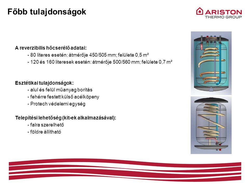 Főbb tulajdonságok A reverzibilis hőcserélő adatai: - 80 literes esetén: átmérője 450/505 mm; felülete 0,5 m² - 120 és 160 literesek esetén: átmérője