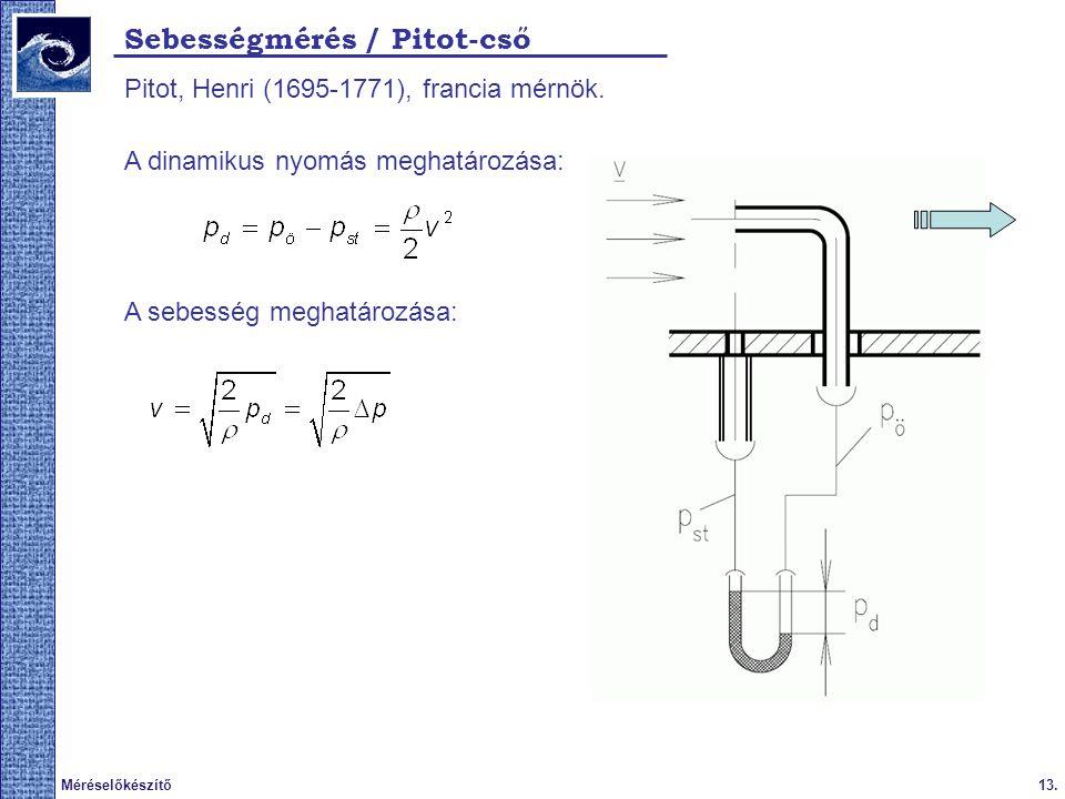 13.Méréselőkészítő 2009. tavasz Sebességmérés / Pitot-cső Pitot, Henri (1695-1771), francia mérnök. A dinamikus nyomás meghatározása: A sebesség megha