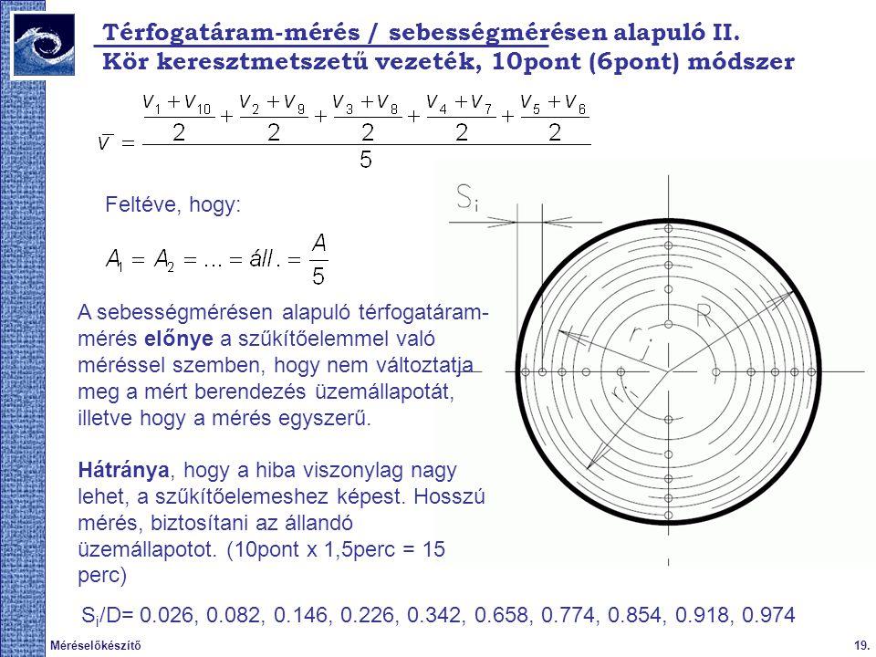 19.Méréselőkészítő Térfogatáram-mérés / sebességmérésen alapuló II. S i /D= 0.026, 0.082, 0.146, 0.226, 0.342, 0.658, 0.774, 0.854, 0.918, 0.974 A seb