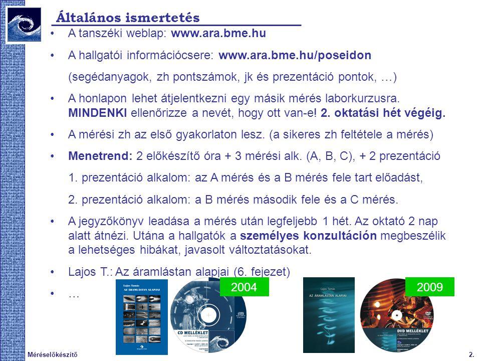 2.Méréselőkészítő Általános ismertetés A tanszéki weblap: www.ara.bme.hu A hallgatói információcsere: www.ara.bme.hu/poseidon (segédanyagok, zh pontsz