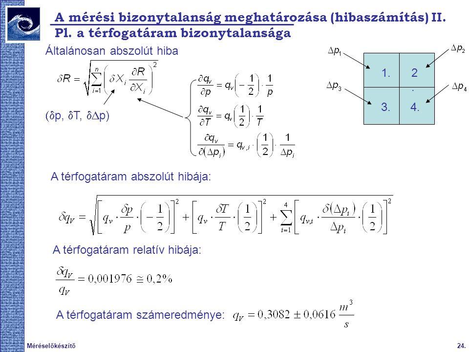24.Méréselőkészítő 2009. tavasz A mérési bizonytalanság meghatározása (hibaszámítás) II. 1.2.2. 3.4. Pl. a térfogatáram bizonytalansága Általánosan ab