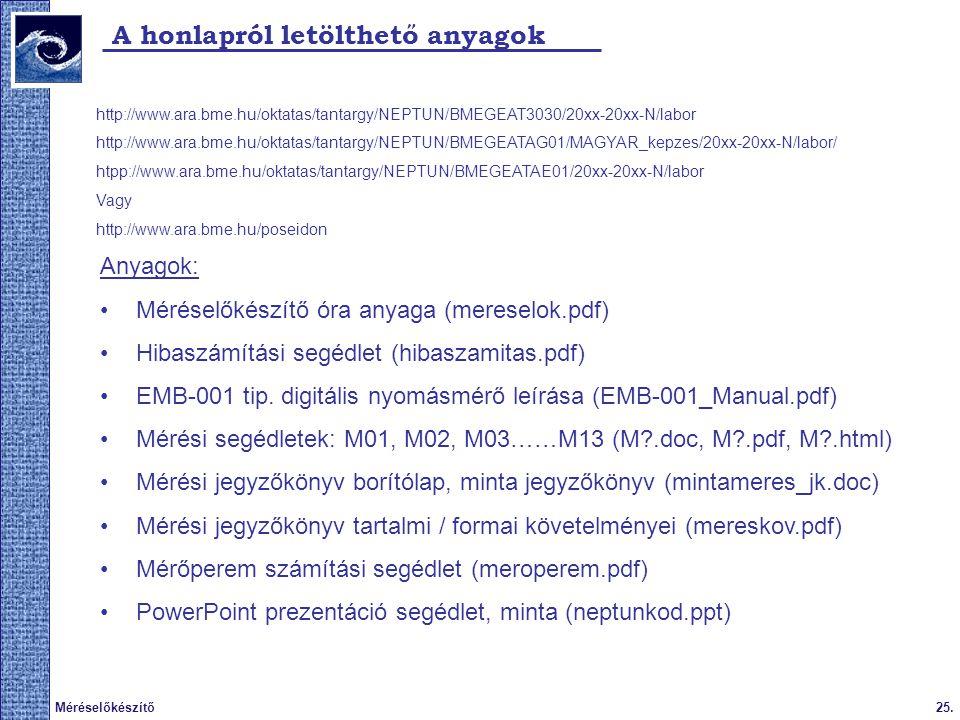 25.Méréselőkészítő A honlapról letölthető anyagok http://www.ara.bme.hu/oktatas/tantargy/NEPTUN/BMEGEAT3030/20xx-20xx-N/labor http://www.ara.bme.hu/ok