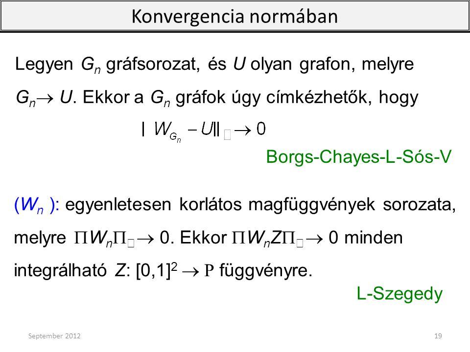 Legyen G n gráfsorozat, és U olyan grafon, melyre G n  U. Ekkor a G n gráfok úgy címkézhetők, hogy Konvergencia normában (W n ): egyenletesen korláto