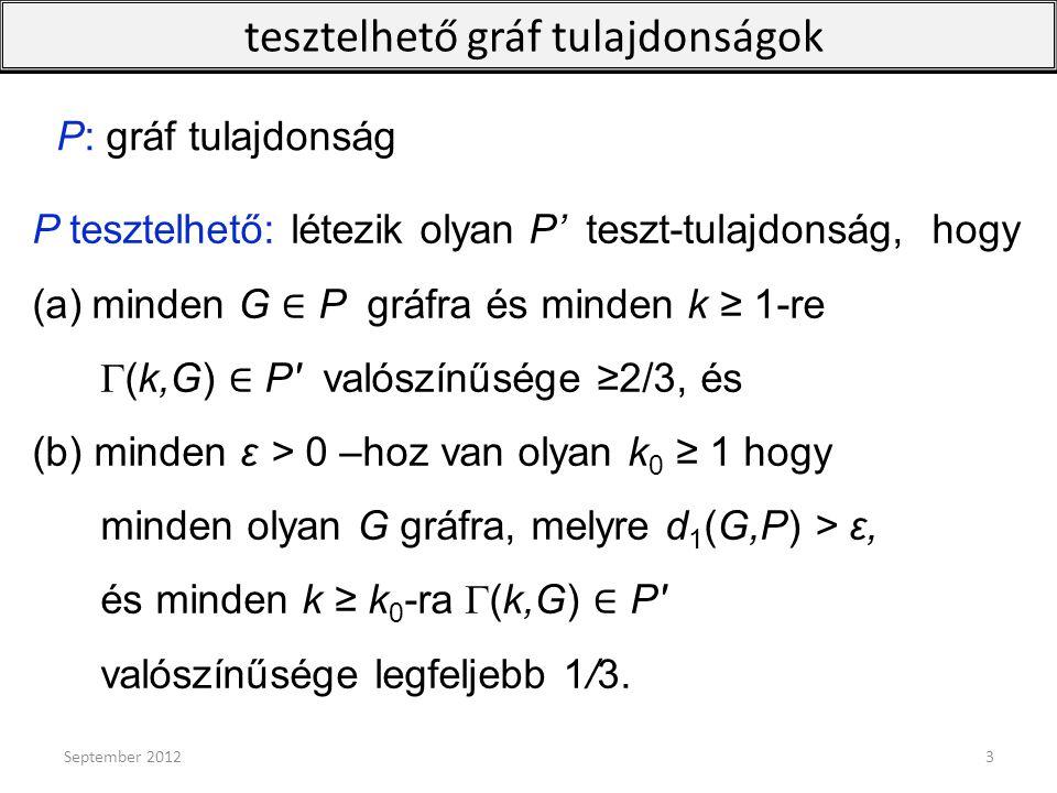 P tesztelhető: létezik olyan P' teszt-tulajdonság, hogy (a)minden G ∈ P gráfra és minden k ≥ 1-re G(k,G) ∈ P′ valószínűsége ≥2/3, és (b) minden ε > 0
