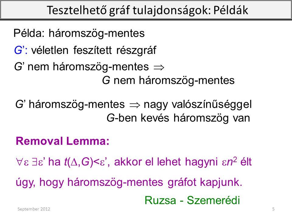 Removal Lemma:   ' ha t( ,G)<  ', akkor el lehet hagyni  n 2 élt úgy, hogy háromszög-mentes gráfot kapjunk. Ruzsa - Szemerédi G': véletlen fesz