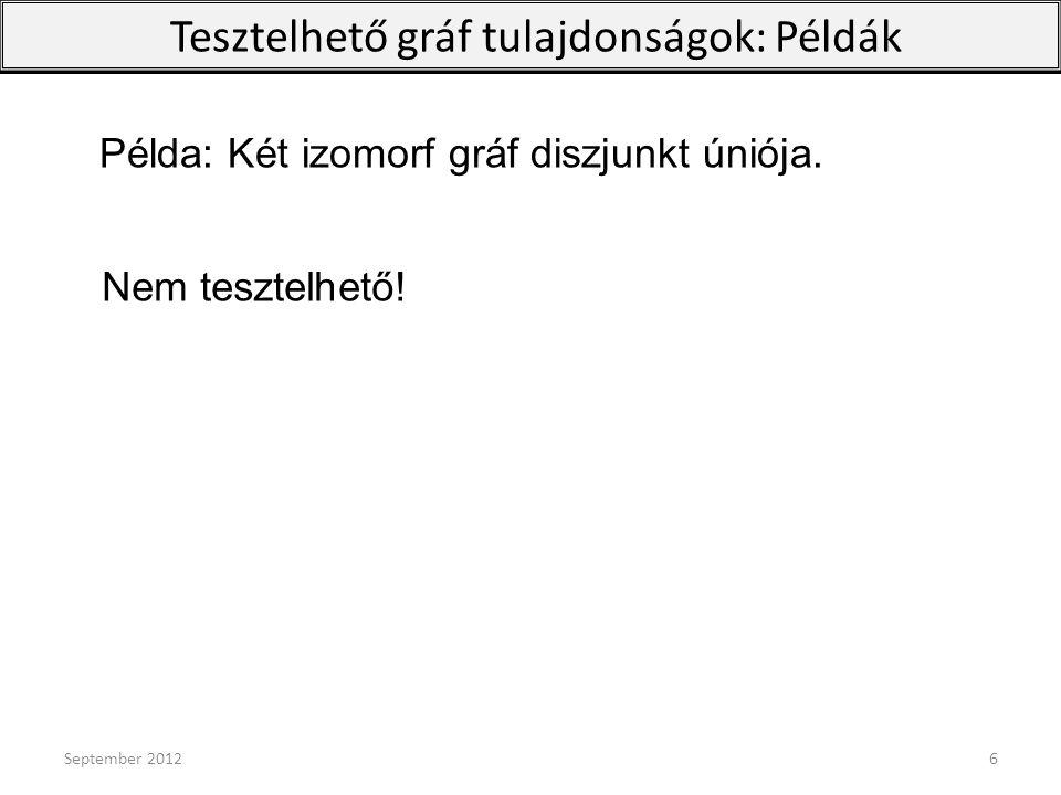 September 201217 G n  W :  F t(F,G n )  t(F,W) Gráfsorozat limesz-grafonja Ekvivalens: