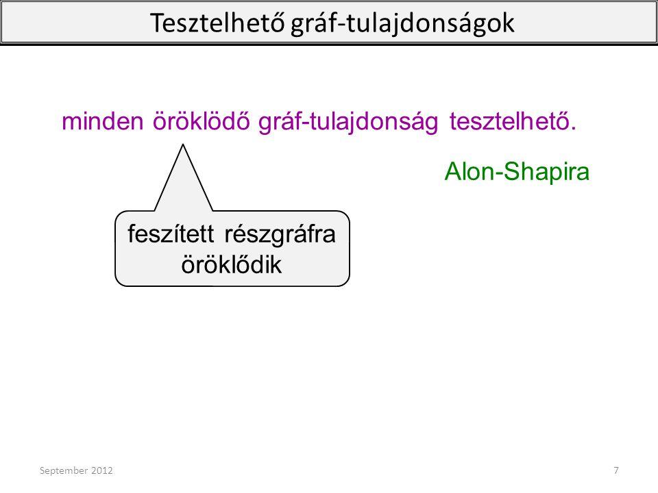Nemdeterminisztikusan tesztelhető tulajdonságok Isteni szikra: kiszinezzük a csúcsokat, irányítjuk és szinezzük az éleket Q: irányított, szinezett gráfok egy tulajdonsága shadow(Q)={shadow(G): G  Q}; G: irányított, él és csúcs-szinezett gráf shadow(G): elfelejtjük az irányítást, elhagyunk bizonyos színű éleket, elfelejtjük a szinezést P nemdeterminisztikusan tesztelhető: P= shadow(Q), ahol Q tesztelhető tulajdonsága szinezett, irányított gráfoknak.