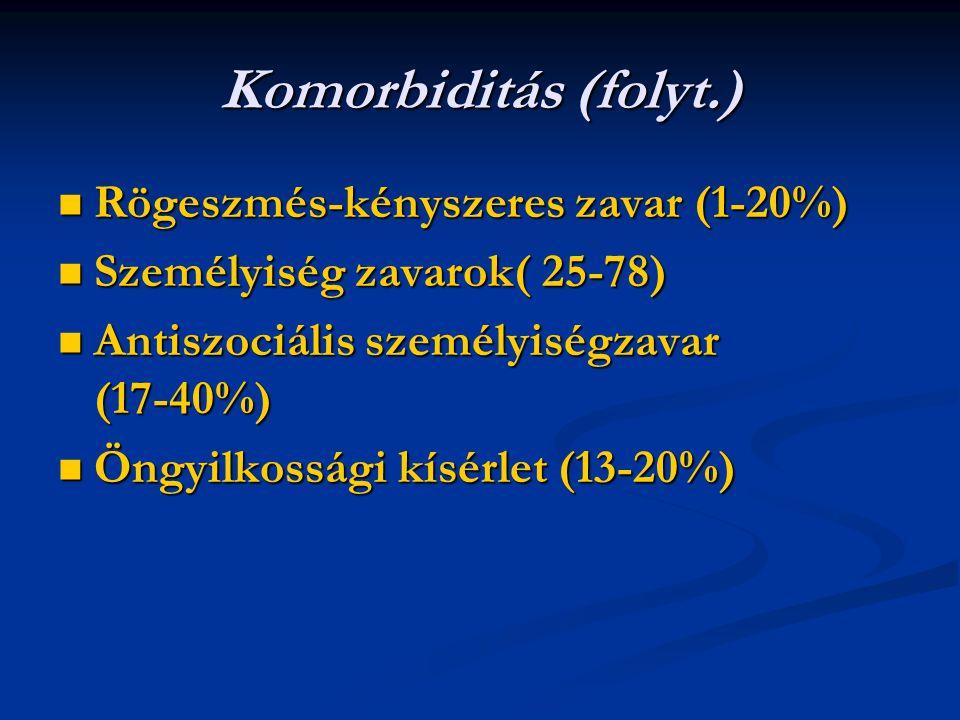 Komorbiditás (folyt.) Rögeszmés-kényszeres zavar (1-20%) Rögeszmés-kényszeres zavar (1-20%) Személyiség zavarok( 25-78) Személyiség zavarok( 25-78) Antiszociális személyiségzavar (17-40%) Antiszociális személyiségzavar (17-40%) Öngyilkossági kísérlet (13-20%) Öngyilkossági kísérlet (13-20%)