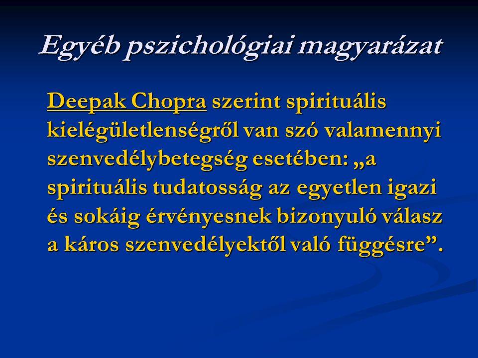 """Egyéb pszichológiai magyarázat Deepak ChopraDeepak Chopra szerint spirituális kielégületlenségről van szó valamennyi szenvedélybetegség esetében: """"a spirituális tudatosság az egyetlen igazi és sokáig érvényesnek bizonyuló válasz a káros szenvedélyektől való függésre ."""