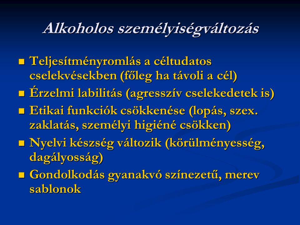 Alkoholos személyiségváltozás Teljesítményromlás a céltudatos cselekvésekben (főleg ha távoli a cél) Teljesítményromlás a céltudatos cselekvésekben (főleg ha távoli a cél) Érzelmi labilitás (agresszív cselekedetek is) Érzelmi labilitás (agresszív cselekedetek is) Etikai funkciók csökkenése (lopás, szex.