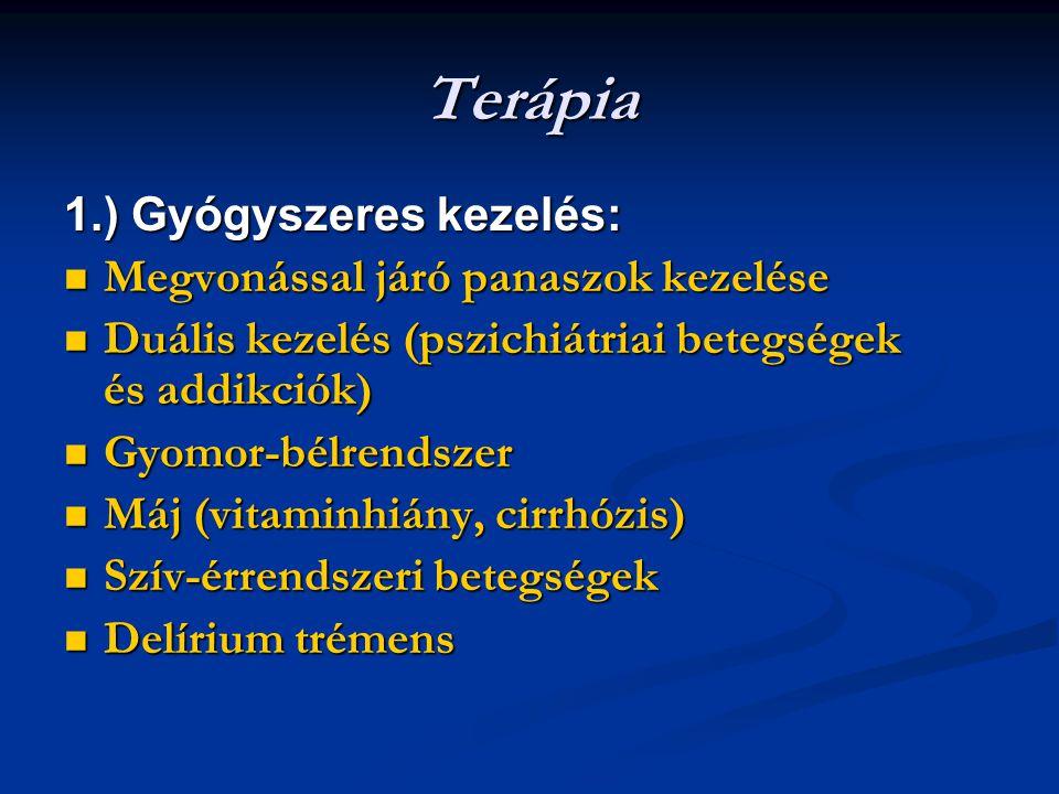 Terápia 1.) Gyógyszeres kezelés: Megvonással járó panaszok kezelése Megvonással járó panaszok kezelése Duális kezelés (pszichiátriai betegségek és addikciók) Duális kezelés (pszichiátriai betegségek és addikciók) Gyomor-bélrendszer Gyomor-bélrendszer Máj (vitaminhiány, cirrhózis) Máj (vitaminhiány, cirrhózis) Szív-érrendszeri betegségek Szív-érrendszeri betegségek Delírium trémens Delírium trémens