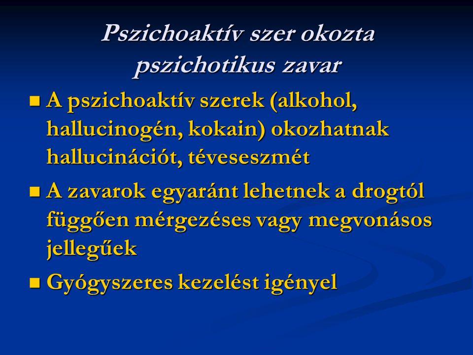 Pszichoaktív szer okozta pszichotikus zavar A pszichoaktív szerek (alkohol, hallucinogén, kokain) okozhatnak hallucinációt, téveseszmét A pszichoaktív szerek (alkohol, hallucinogén, kokain) okozhatnak hallucinációt, téveseszmét A zavarok egyaránt lehetnek a drogtól függően mérgezéses vagy megvonásos jellegűek A zavarok egyaránt lehetnek a drogtól függően mérgezéses vagy megvonásos jellegűek Gyógyszeres kezelést igényel Gyógyszeres kezelést igényel
