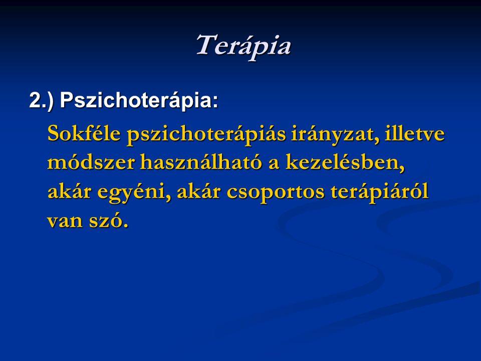 Terápia 2.) Pszichoterápia: Sokféle pszichoterápiás irányzat, illetve módszer használható a kezelésben, akár egyéni, akár csoportos terápiáról van szó.