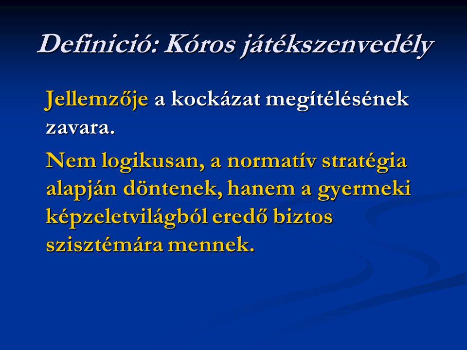 Definició: Kóros játékszenvedély Jellemzője a kockázat megítélésének zavara.