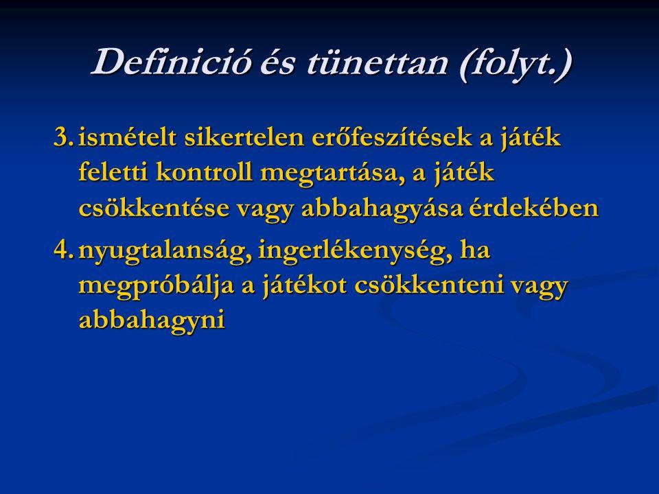 Definició és tünettan (folyt.) 3.ismételt sikertelen erőfeszítések a játék feletti kontroll megtartása, a játék csökkentése vagy abbahagyása érdekében 4.nyugtalanság, ingerlékenység, ha megpróbálja a játékot csökkenteni vagy abbahagyni