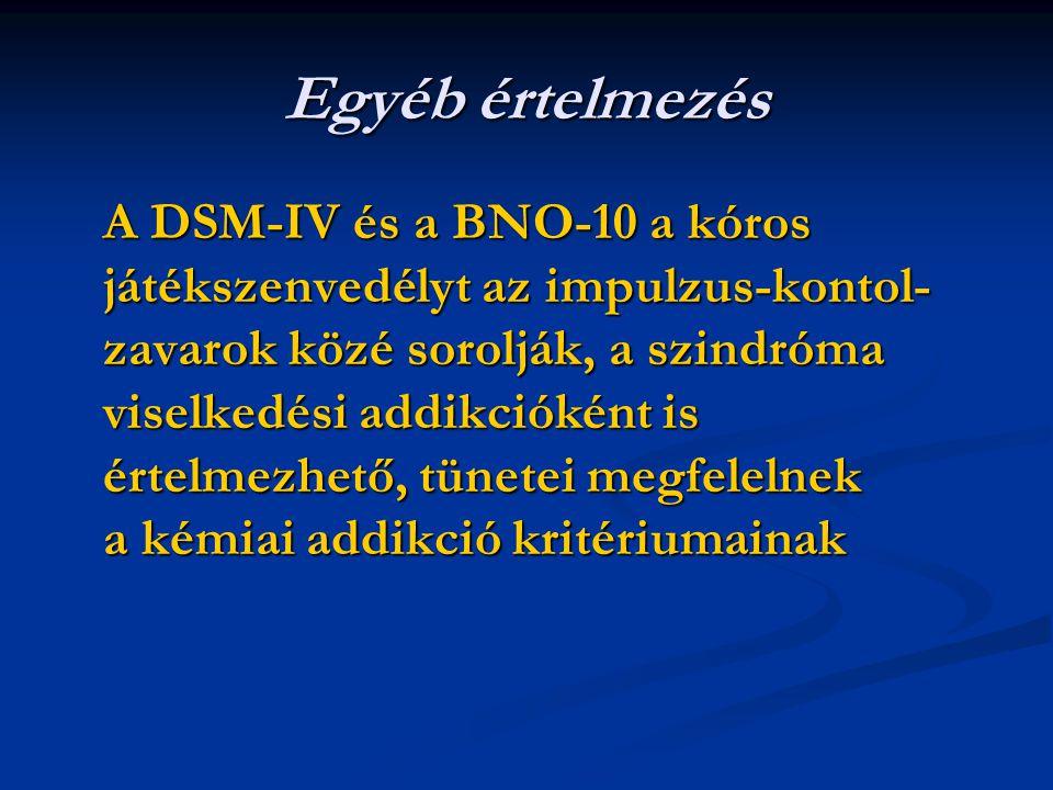 Egyéb értelmezés A DSM-IV és a BNO-10 a kóros játékszenvedélyt az impulzus-kontol- zavarok közé sorolják, a szindróma viselkedési addikcióként is értelmezhető, tünetei megfelelnek a kémiai addikció kritériumainak