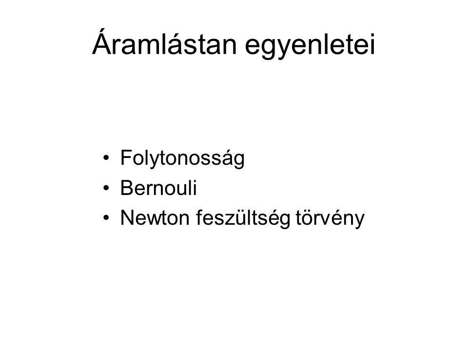 Áramlástan egyenletei Folytonosság Bernouli Newton feszültség törvény