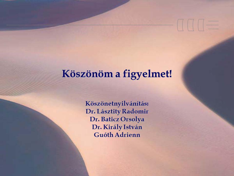 Köszönöm a figyelmet! Köszönetnyilvánítás: Dr. Lásztity Radomir Dr. Baticz Orsolya Dr. Király István Guóth Adrienn