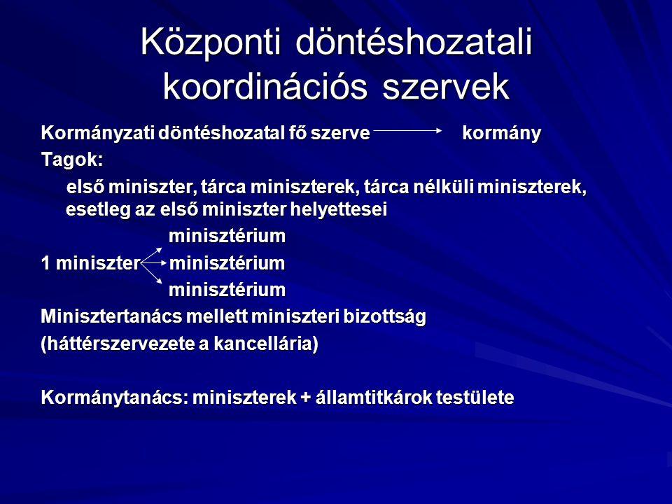 Központi döntéshozatali koordinációs szervek Kormányzati döntéshozatal fő szerve kormány Tagok: első miniszter, tárca miniszterek, tárca nélküli minis