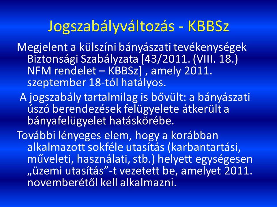 Jogszabályváltozás - KBBSz Megjelent a külszíni bányászati tevékenységek Biztonsági Szabályzata [43/2011. (VIII. 18.) NFM rendelet – KBBSz], amely 201