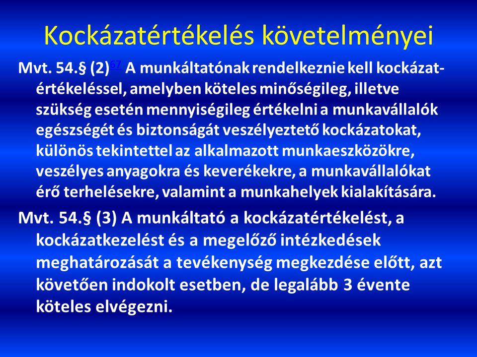 Kockázatértékelés követelményei Mvt. 54.§ (2) 67 A munkáltatónak rendelkeznie kell kockázat- értékeléssel, amelyben köteles minőségileg, illetve szüks