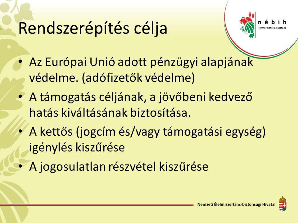 Rendszerépítés célja Az Európai Unió adott pénzügyi alapjának védelme. (adófizetők védelme) A támogatás céljának, a jövőbeni kedvező hatás kiváltásána