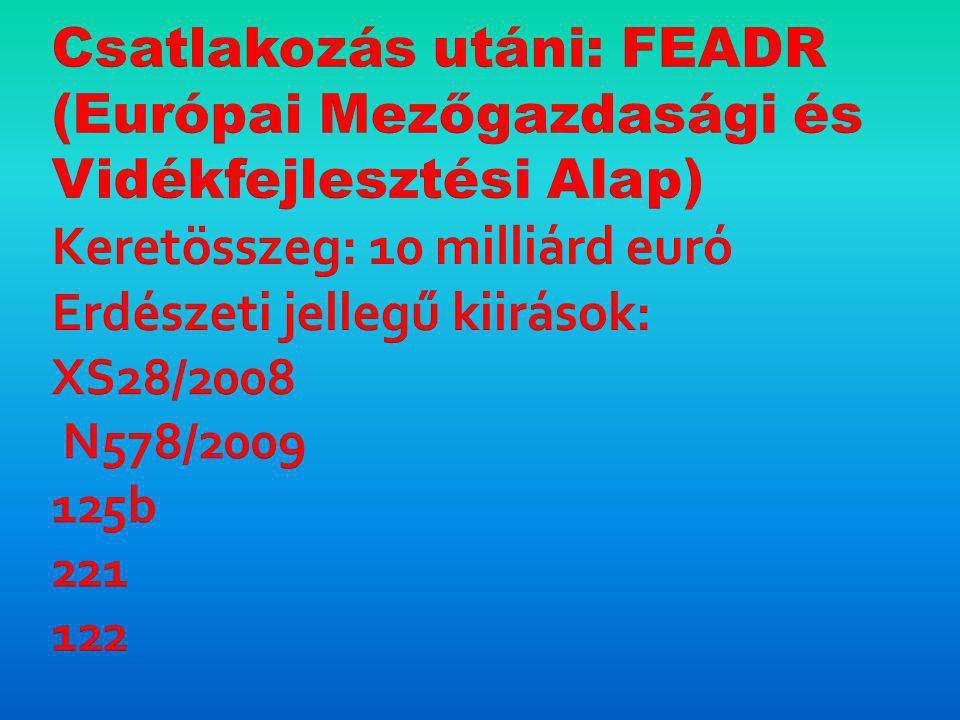 Csatlakozás utáni: FEADR (Európai Mezőgazdasági és Vidékfejlesztési Alap) Keretösszeg: 10 milliárd euró Erdészeti jellegű kiirások: XS28/2008 N578/2009 125b 221 122