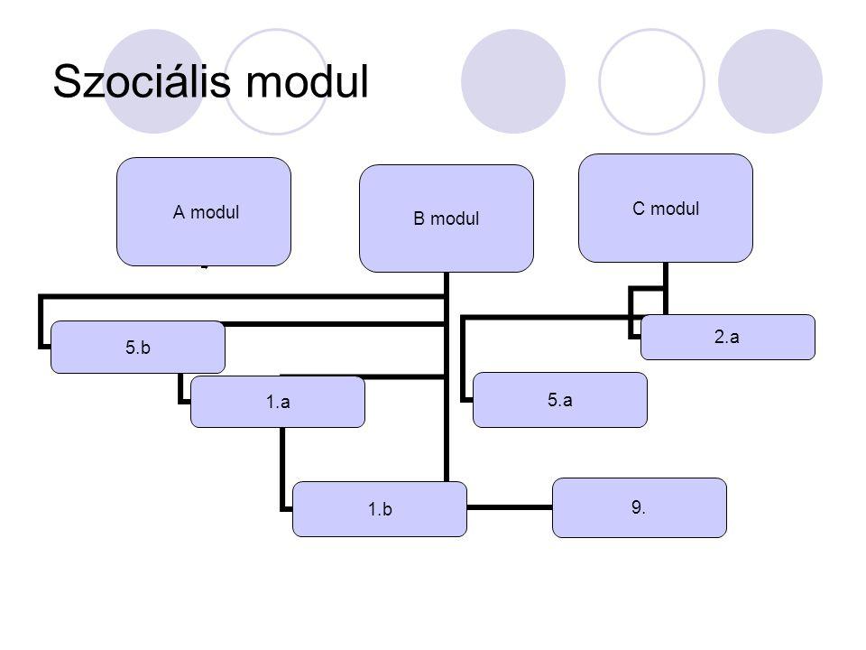 Szociális modul A modul C modul 2.a5.a B modul 1.a1.b 9.5.b