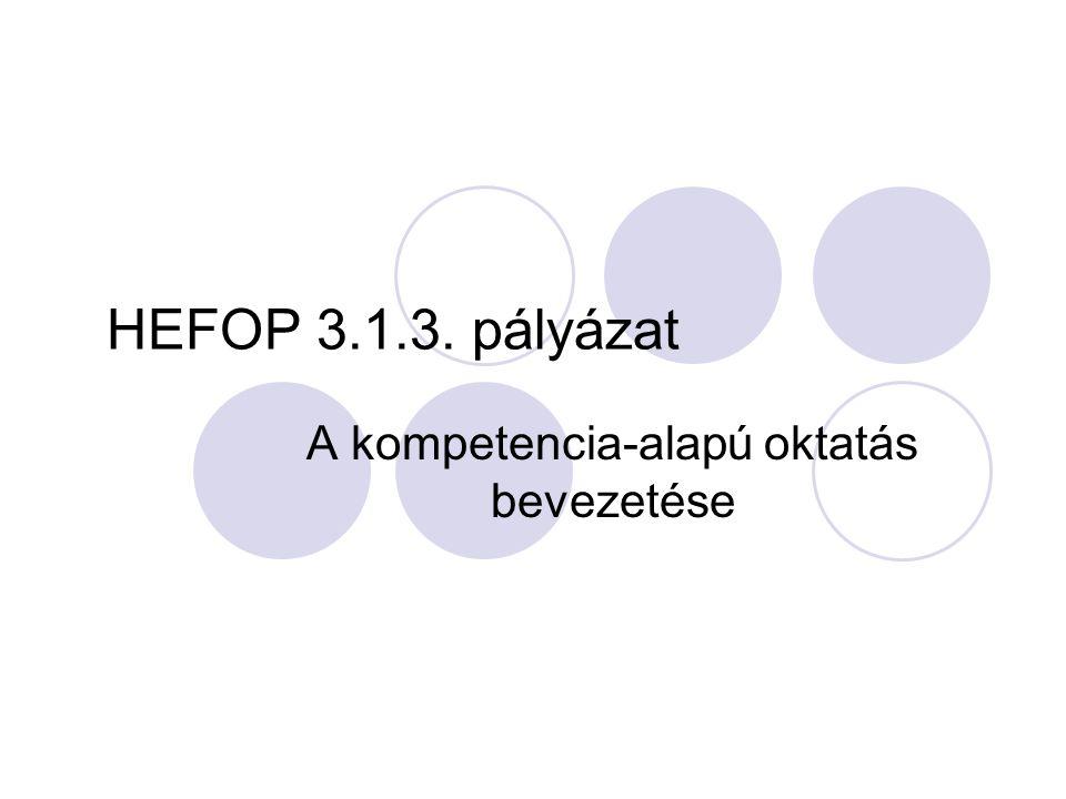 HEFOP 3.1.3. pályázat A kompetencia-alapú oktatás bevezetése