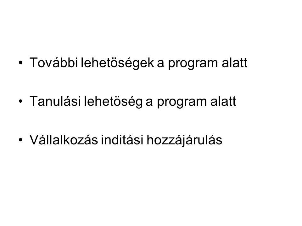 További lehetöségek a program alatt Tanulási lehetöség a program alatt Vállalkozás inditási hozzájárulás