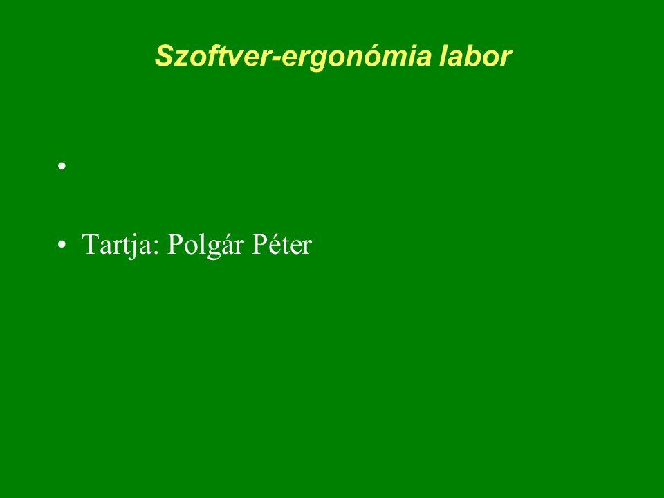 Szoftver-ergonómia labor Tartja: Polgár Péter