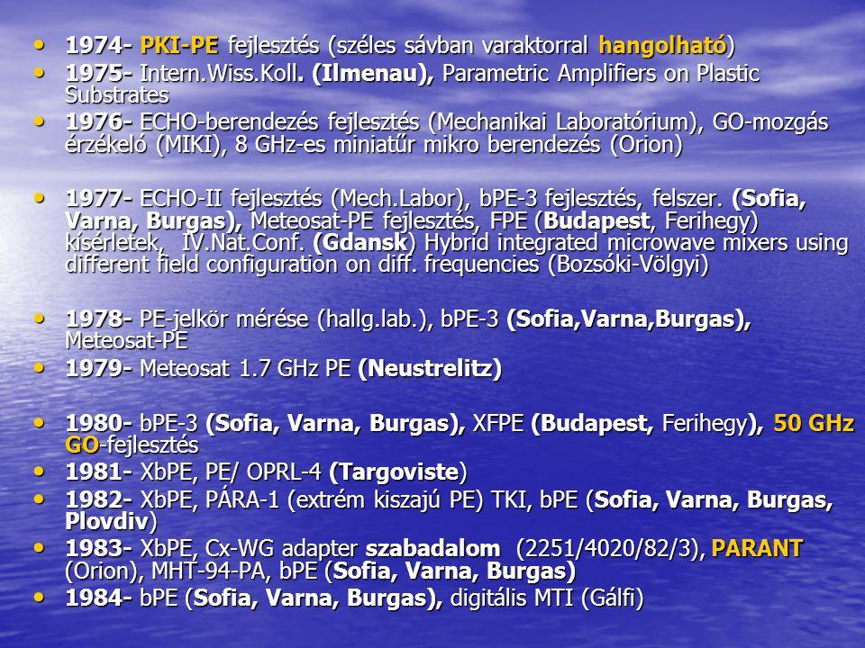 1974- PKI-PE fejlesztés (széles sávban varaktorral hangolható) 1974- PKI-PE fejlesztés (széles sávban varaktorral hangolható) 1975- Intern.Wiss.Koll.