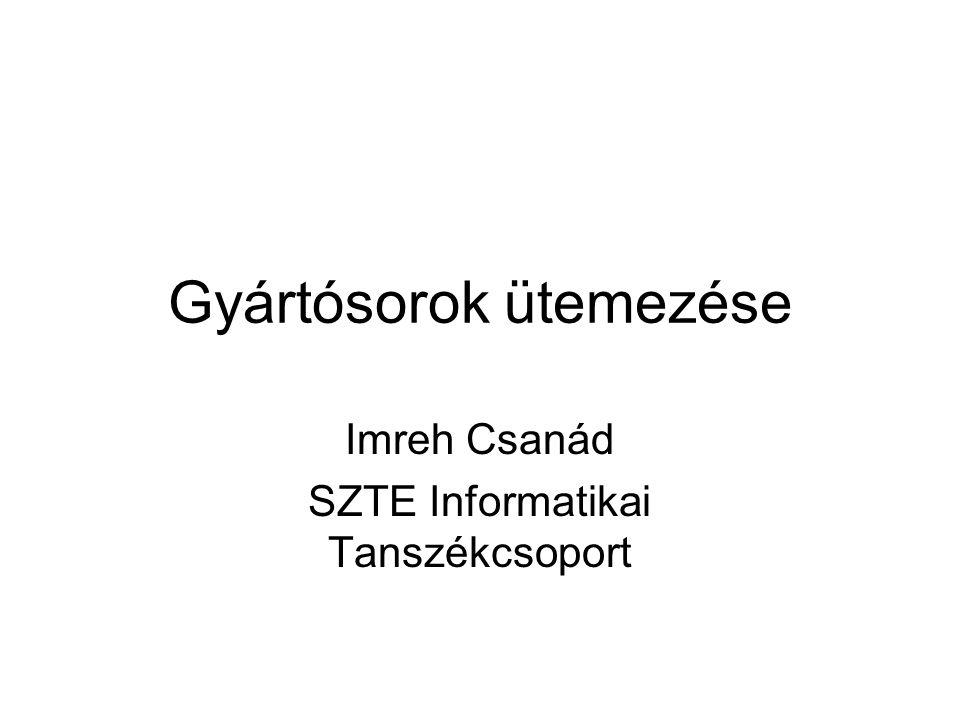Gyártósorok ütemezése Imreh Csanád SZTE Informatikai Tanszékcsoport