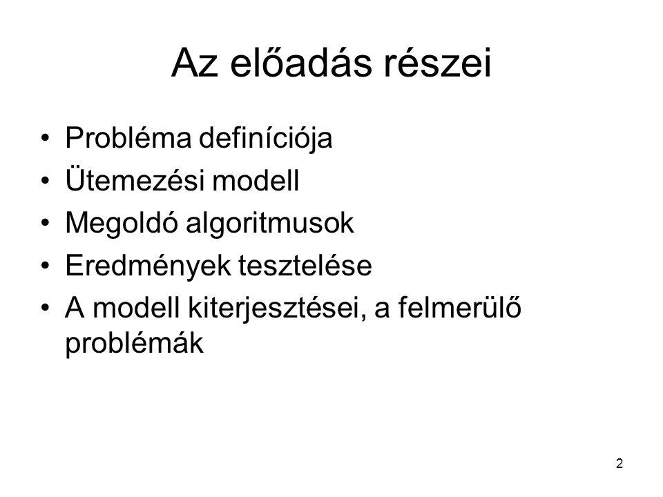 2 Az előadás részei Probléma definíciója Ütemezési modell Megoldó algoritmusok Eredmények tesztelése A modell kiterjesztései, a felmerülő problémák