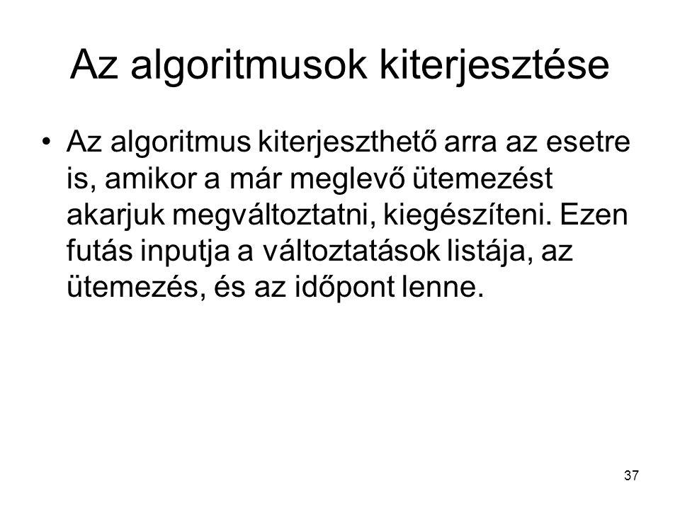 37 Az algoritmusok kiterjesztése Az algoritmus kiterjeszthető arra az esetre is, amikor a már meglevő ütemezést akarjuk megváltoztatni, kiegészíteni.