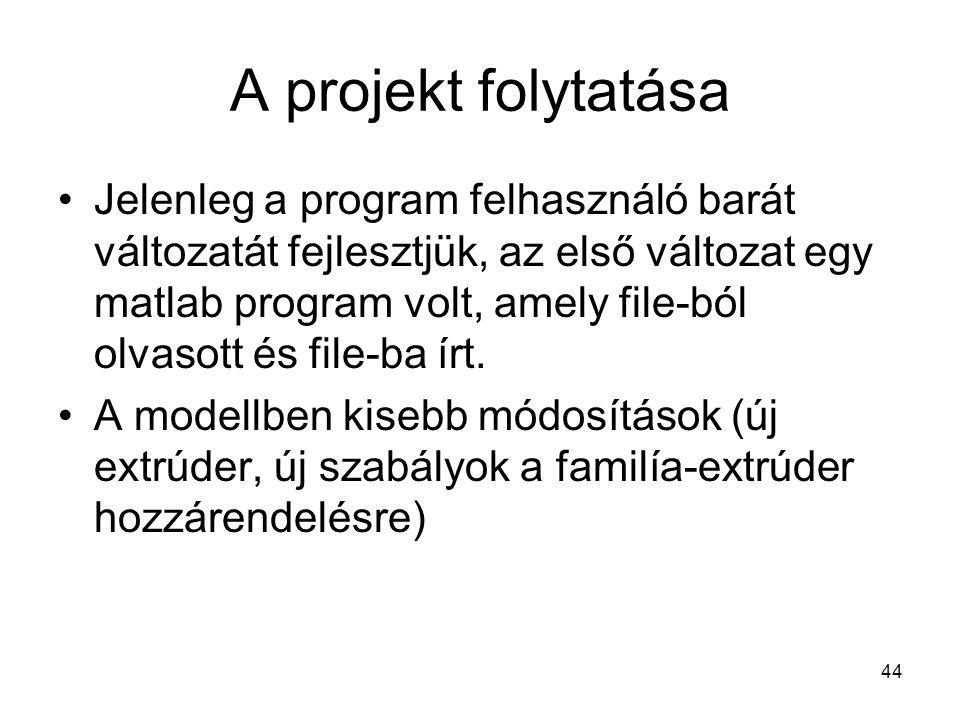 44 A projekt folytatása Jelenleg a program felhasználó barát változatát fejlesztjük, az első változat egy matlab program volt, amely file-ból olvasott és file-ba írt.