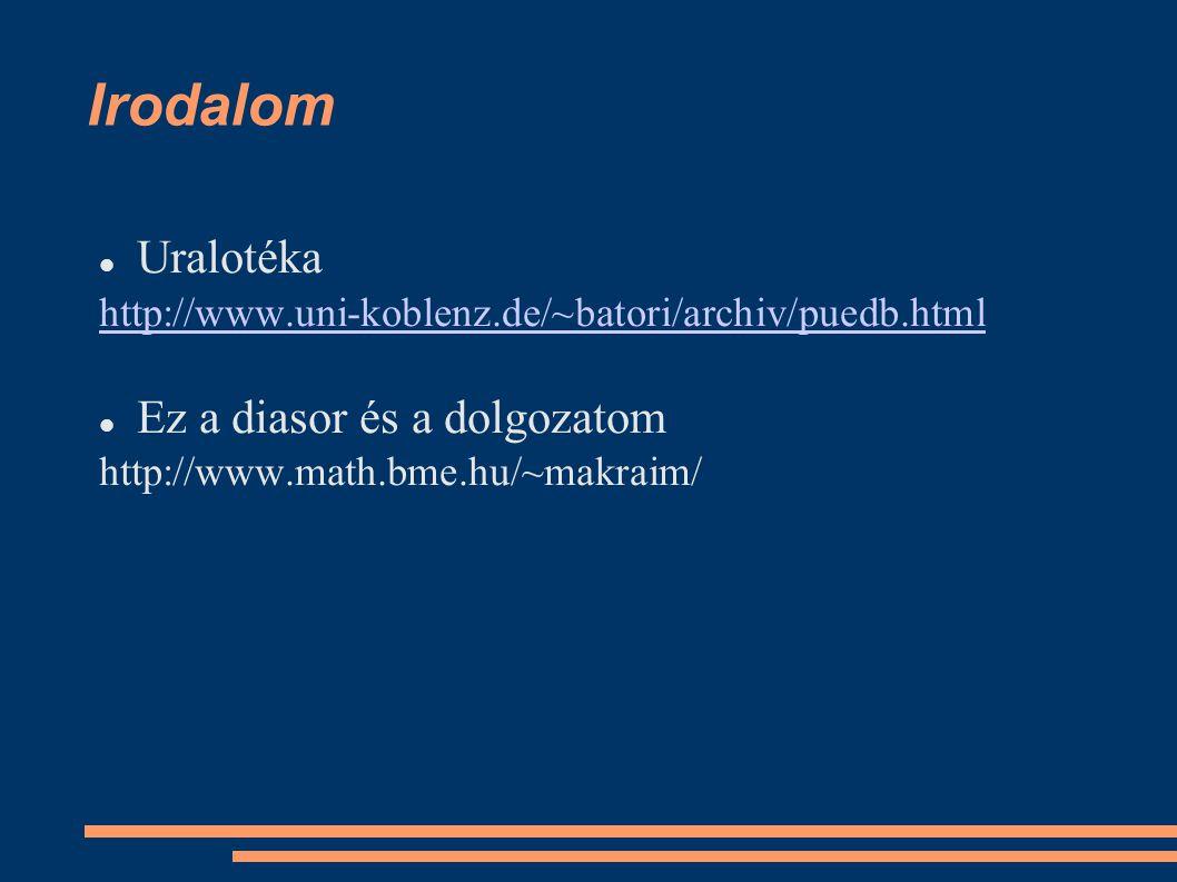 Irodalom Uralotéka http://www.uni-koblenz.de/~batori/archiv/puedb.html Ez a diasor és a dolgozatom http://www.math.bme.hu/~makraim/