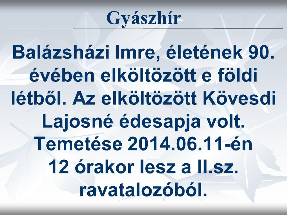 Gyászhír Balázsházi Imre, életének 90. évében elköltözött e földi létből.