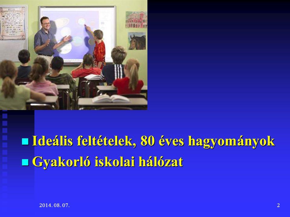 Ideális feltételek, 80 éves hagyományok Ideális feltételek, 80 éves hagyományok Gyakorló iskolai hálózat Gyakorló iskolai hálózat 2014. 08. 07.2