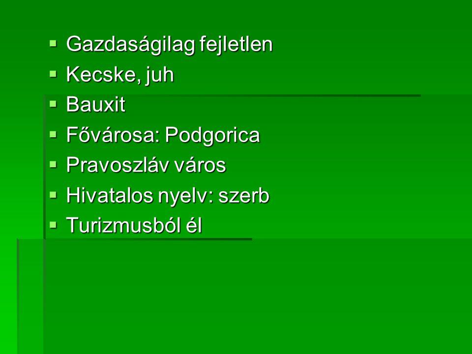  Gazdaságilag fejletlen  Kecske, juh  Bauxit  Fővárosa: Podgorica  Pravoszláv város  Hivatalos nyelv: szerb  Turizmusból él