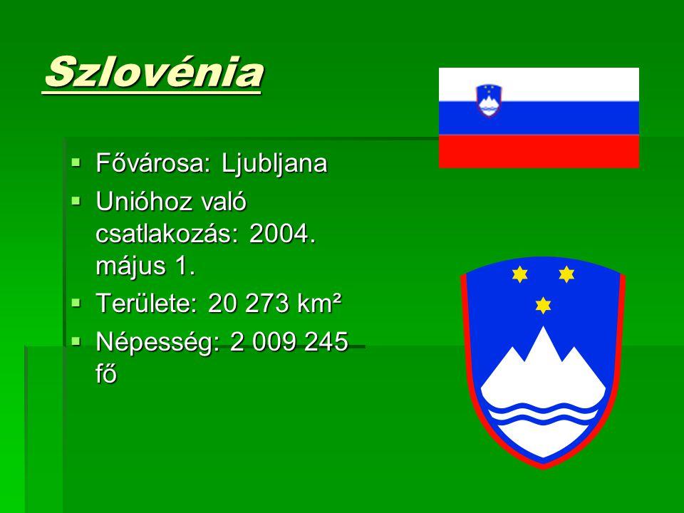 Szlovénia  Fővárosa: Ljubljana  Unióhoz való csatlakozás: 2004. május 1.  Területe: 20 273 km²  Területe: 20 273 km²  Népesség: 2 009 245 fő