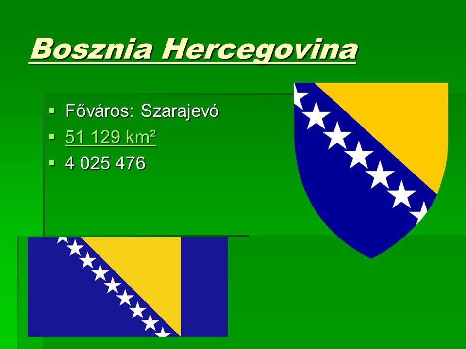 Bosznia Hercegovina  Főváros: Szarajevó  51 129 km² 51 129 km² 51 129 km²  4 025 476