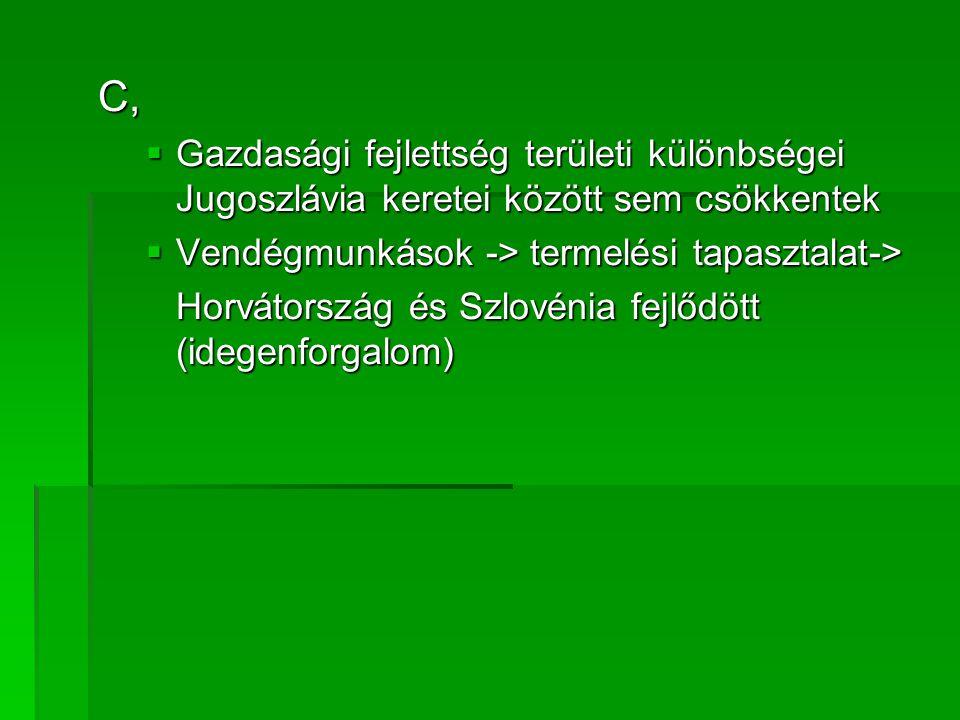 C,  Gazdasági fejlettség területi különbségei Jugoszlávia keretei között sem csökkentek  Vendégmunkások -> termelési tapasztalat-> Horvátország és S