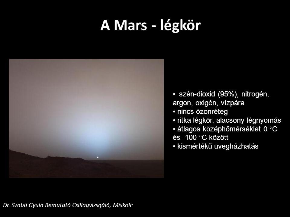Mars Global Surveyor: feltérképezi a marsi felszínt Mars Pathfinder Sojourner: kőzetek vizsgálata Mars Odyssey: felszín összetételének elemzése Űrszondák és marsjárók Dr.