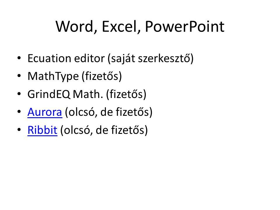 Word, Excel, PowerPoint Ecuation editor (saját szerkesztő) MathType (fizetős) GrindEQ Math. (fizetős) Aurora (olcsó, de fizetős) Aurora Ribbit (olcsó,