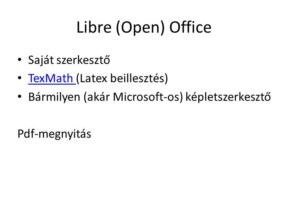Libre (Open) Office Saját szerkesztő TexMath (Latex beillesztés) TexMath Bármilyen (akár Microsoft-os) képletszerkesztő Pdf-megnyitás