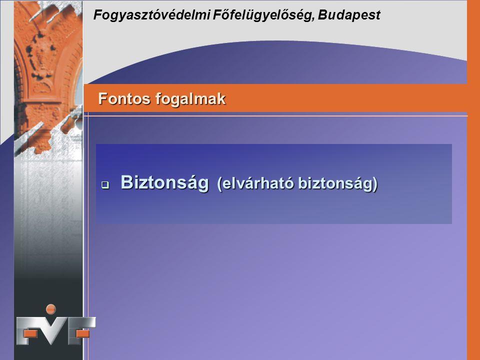 Fogyasztóvédelmi Főfelügyelőség, Budapest Fontos fogalmak Fontos fogalmak  Biztonság (elvárható biztonság)