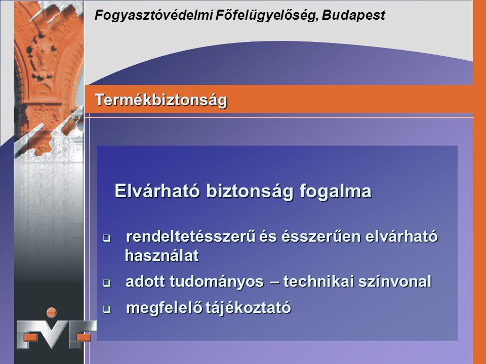 Fogyasztóvédelmi Főfelügyelőség, Budapest Termékbiztonság Termékbiztonság Elvárható biztonság fogalma Elvárható biztonság fogalma  rendeltetésszerű é